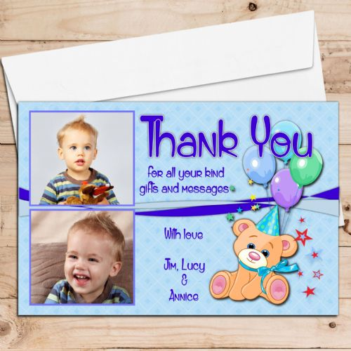 10 Personalised Teddy Thank you PHOTO Cards N127 - Any Occasion
